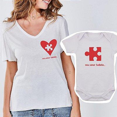 Body de Bebê e Camiseta Feminina Quebra-Cabeça
