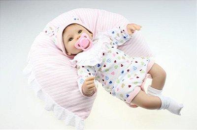 Bebê Reborn Jessie 40cm com Travesseirinho e Gorrinho