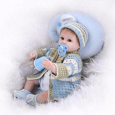 Bebê Reborn Steve com Travesseiro e Mantinha