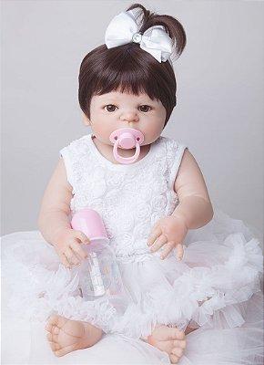 Linda Bebê Reborn Júlia com Lacinho e Corpinho em Silicone