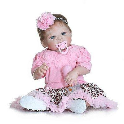 Bebê Reborn 55cm Lorena em Silicone com Bochechas Rosadas