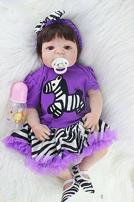 Bebê Reborn Maria Eduarda com Roupa de Zebrinha 55cm