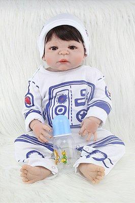 Bebê Reborn de Silicone Gustavo com Pijama e Touca