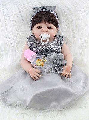 Bebê Rebon Lara com Vestido Chique Prata Brilhante 55cm
