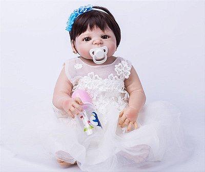 Bebê Reborn com Brinco Letícia em Silicone Para Dar Banho