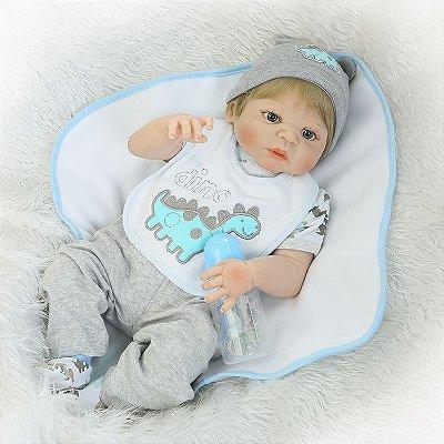 Bebê Reborn Léo com Cobertorzinho e Babador em Silicone