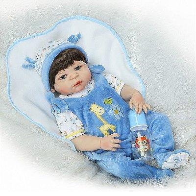 Bebê Reborn Pedrinho de Silicone com Pijama 55cm