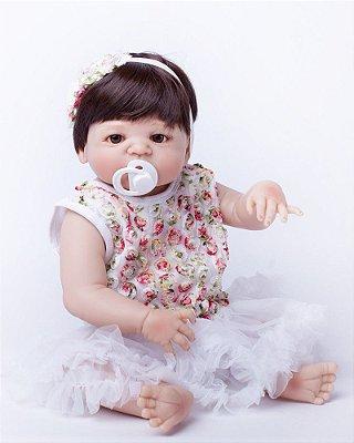 Bebê Reborn de Silicone Lilian Lindinha de Vestido