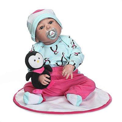 Bebê Reborn Agostinho com Pinguim de Pelúcia Ótimo Presente