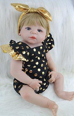 Bebê Reborn Miley com Vestido de Bolinha e Corpo de Silicone
