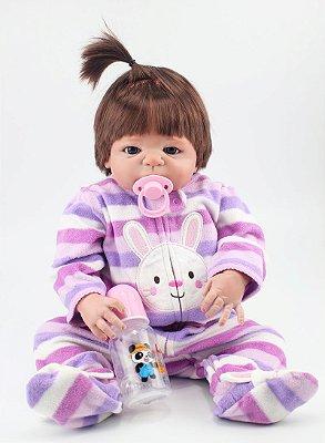 Bebê Reborn Rebeca Inteira em Silicone com Pijama