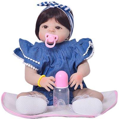 Bebê Reborn Carly com Look Jeans Toda em Silicone - Pronta Entrega!