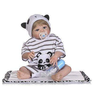 Bebê Reborn Lucca com Linda Fantasia de Panda