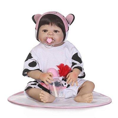 Bebê Reborn com Pijama de Vaquinha Super Fofa