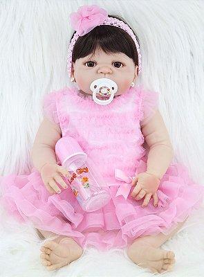 Bebê Reborn Rita em Silicone com Vestido de Festa