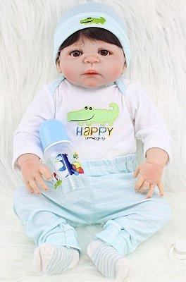 Bebê Reborn Henrique com Roupinha de Jacaré