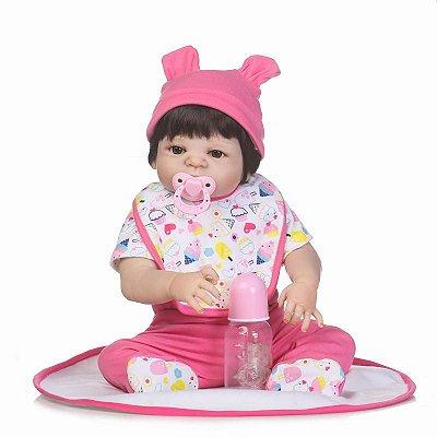 Bebê Reborn Selena em Silicone e Roupinha com Estampa de Docinhos