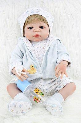 Bebê Reborn Ariel Loiro com Olhos Azuis Todo em Silicone