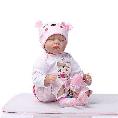 Bebê Reborn Ritinha com Cobertorzinho e Touca Animadinha