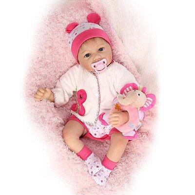 Bebê Reborn Fabi com Cabelo Realístico + Pelúcia