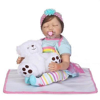 Boneca Olivia Dormindo com Ursinho e Cobertor