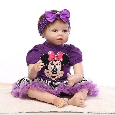 Boneca Reborn Dany com Roupinha da Miney Mouse