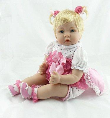 Bebê Reborn Vera Loura com Olhos Claros 55cm