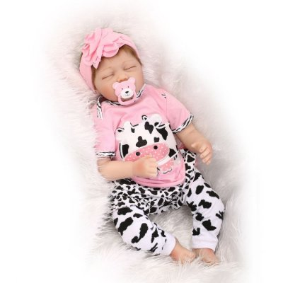 Bebê Reborn Jennifer Dormindo com Enxoval de Vaquinha 55cm