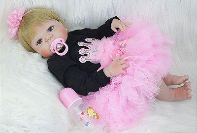 Bebê Reborn Inteira em Silicone Angélica 55cm com Brincos