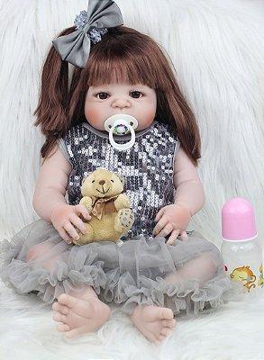 Bebe Reborn Danizinha com Cabelo Comprido Inteira em Silicone 55cm + Lançamento 2017
