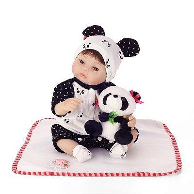 Nova Bebe Reborn Panda com Ursinho 40cm, Lançamento 2018