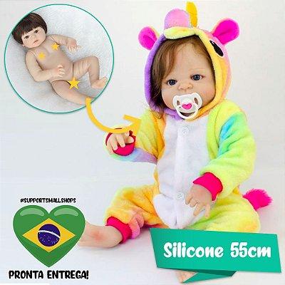 Bebê Reborn 55cm com Kigurumi do Unicórnio Colorido - Pronta Entrega!