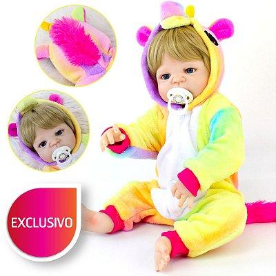 Bebê Reborn 100% Silicone Menina Loira de Olhos Azuis com Pijama Kigurumi de Unicórnio Colorido
