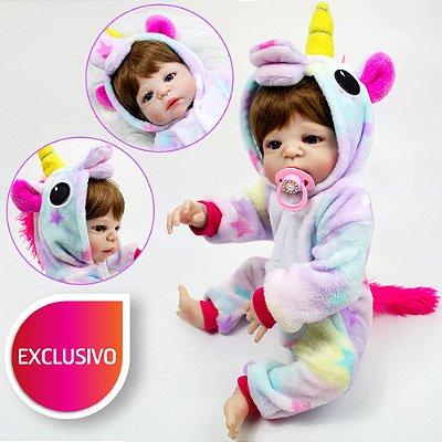 Bebê Reborn com Cabelo Exclusivo Castanho Claro Pode Dar Banho com Pijama de Unicórnio Kigurumi Estrelinha