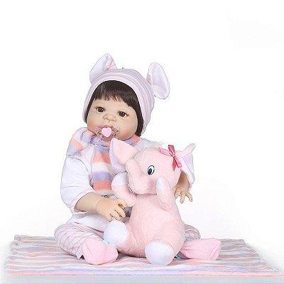 Bebê Reborn Inteira em Silicone com Elefantinho
