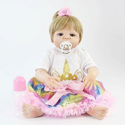 Bebê Reborn July Loira com 55cm Inteira em Silicone
