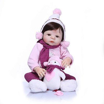 Bebe Reborn Sarah com Ursinho da Neve com 55cm - Inteira em silicone