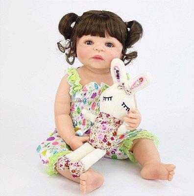 Bebê de Silicone Reborn Jasmin Inteira em Silicone 55cm