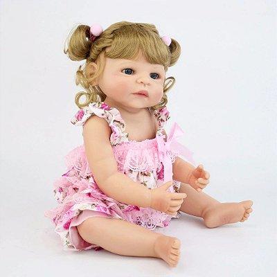 Bebê Reborn Inteira Silicone Ally Inteira em Silicone 55cm