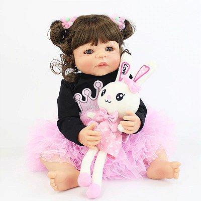 Bebê Reborn Silicone Paty Girl Inteira em Silicone 55cm