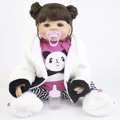 Bebê Reborn Sayuri Toda em Silicone Com Roupinha de Panda