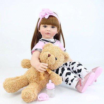 Bebê Reborn Stephanie com Cabelo Liso e Longo  60 cm