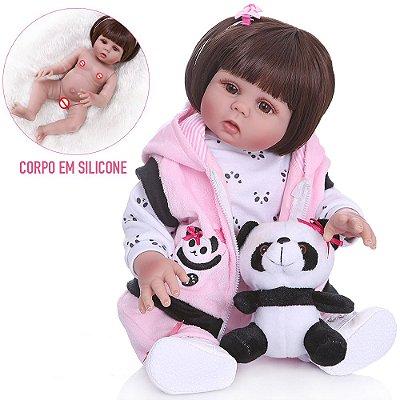 Bebê Reborn Taylor Fashion Inteira em Silicone 48cm - Pronta Entrega!