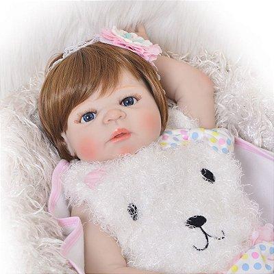 Bebê de Silicone Reborn Maria Helena com 55cm - OPÇÃO PRONTA ENTREGA