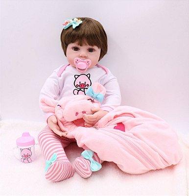 Bebê Reborn Ana Lívia com Toca de Ursinho 47 cm - Lançamento 2020