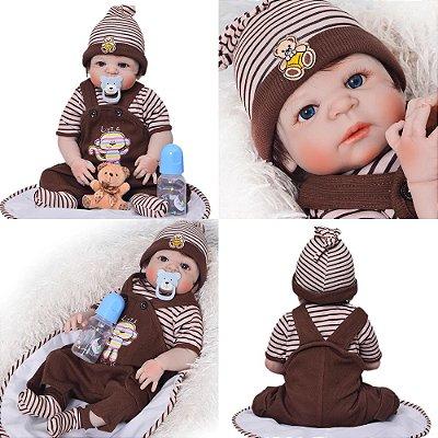 Bebê Reborn Ted Inteiro em Silicone 55cm - PRONTA ENTREGA