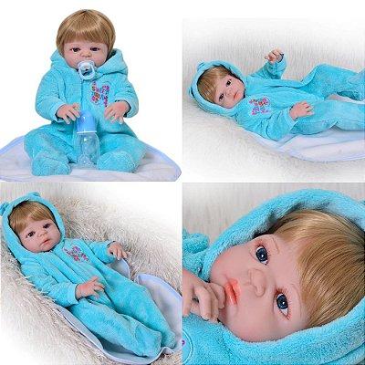 Bebê de Silicone Reborn Thomas Inteiro em Silicone 55cm - PRONTA ENTREGA