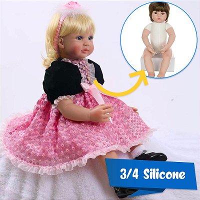 Bebê Reborn 3/4 Silicone Princesa Jéssica 60cm - Pronta Entrega!