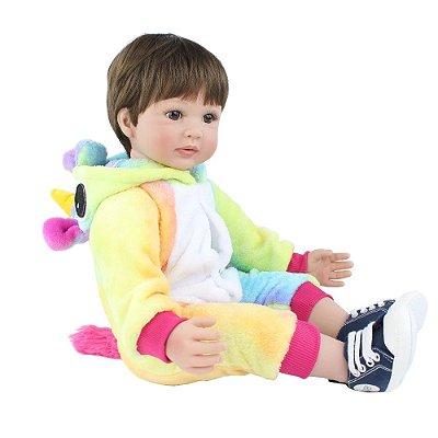 Bebe Reborn 60cm Jhoe com 60cm Roupa Unicornio Lançamento 2020