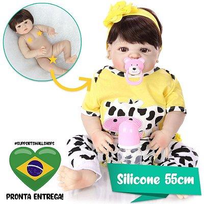 Bebê Reborn Nayra 55cm com Roupinha de Vaquinha - Pronta Entrega!